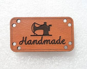 "Label to sew ""HANDMADE"" faux leather individually"