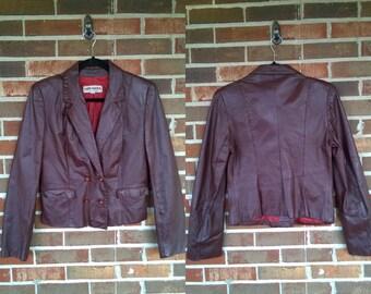 1970s Dark Oxblood Brown Leather Blazer Jacket, 11/12