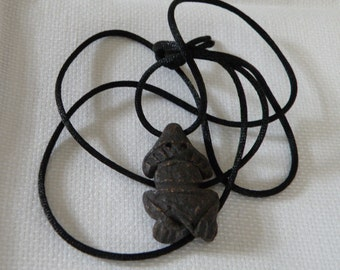Vintage Carved Clay Frog Amulet Necklace - 32 inch