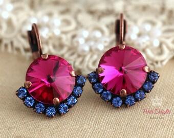 Pink Earrings, Pink Fuchsia Earrings, Dark Pink Blue Earrings, Swarovski Crystal Pink Earrings, Bridesmaids Earrings, Pink Drop Earring