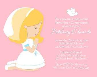 First Communion Invitation, Girl Invitation, Communion Party Invite, Holy Communion, PRINTABLE