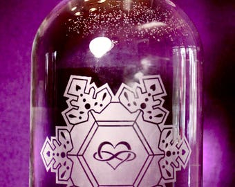 64oz. Infinite Love and Gratitude Crystal etched glass bottle