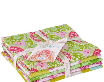 Free Shipping! TILDA Sunkiss Fabric Collection Fat Quarter Bundle of 5 Prints in Green / Pink