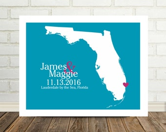 Florida Wedding Gift Florida Map Florida Poster Florida Print Custom Wedding Gift Newly Engaged Gift For Couple Valentines Day Gift for Her