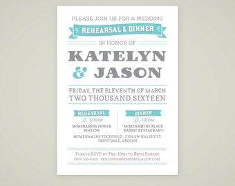 Printable Wedding Rehearsal Invitation for Multnomah Suite - Custom Printable Wedding Rehearsal Announcement - DIY Printable Wedding Set