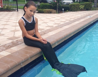 swimmable mermaid tail -  BLACK with choice of  fin colors -  monofin not included