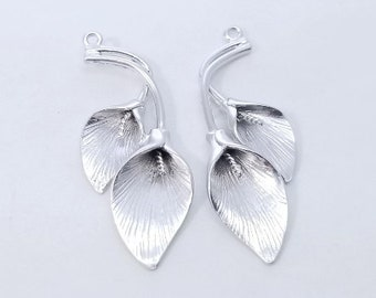 2 pc - Silver Calla Lily Charm, Pendant, Earring Finding - Brushed Finish - 37x15mm - PC-0252