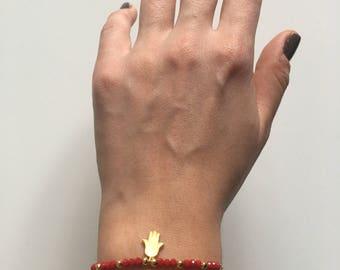 Gold Plated Hand of Hamsa / Red Beaded Handmade Bracelet