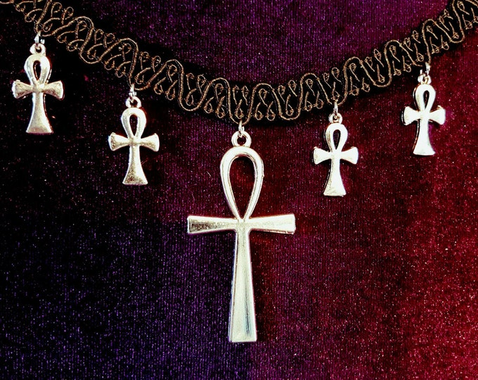 Victorian Vampire Ankh Choker - goth gothic vampyre ankh life force immortality occult egyptian choker