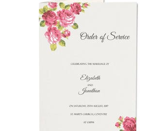 SAMPLE * Charlotte Order Of Service. Wedding Charlotte Range