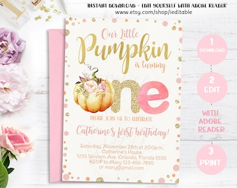 Pumpkin invitation 1st birthday our little pumpkin first pumpkin invitation first birthday our little pumpkin 1st birthday invite pink and gold filmwisefo Image collections