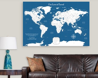 """RESERVED: Upgrade 32x48 Push Pin Map World Map. 0.75"""" Wrapped Canvas"""