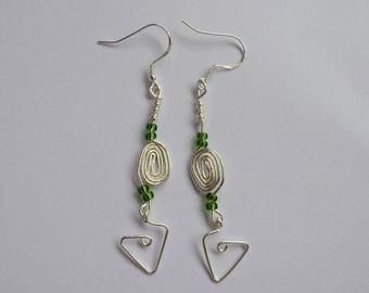 Sterling Silver Handmade Geometric Spiral Beaded Green Beaded Dangle Earrings
