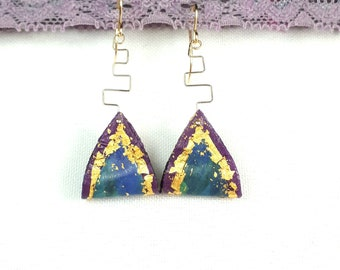 Earrings Gold Recycled Triangle