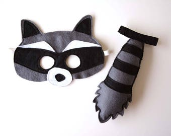 Kids costume - felt raccoon mask and tail