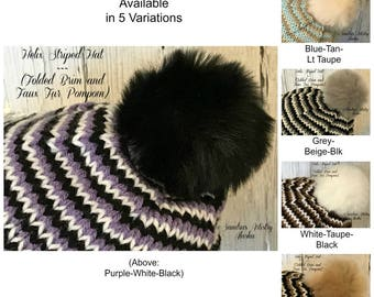 Helix Striped Hat Knit (Folded Brim and Faux Fur Pompom)-5 Variations