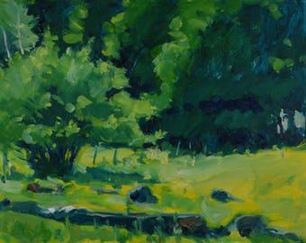 Original Oil Painting, Plein Air, Berkshire Landscape, Farm, by Robert Lafond
