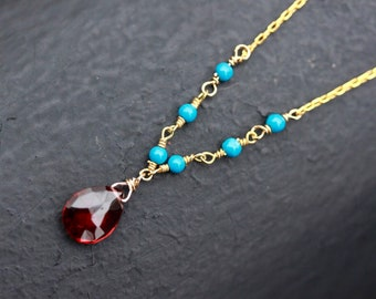 Garnet necklace, turquoise necklace, january birthstone , layered necklace, bridesmaid gift, gemstone necklace, gift for her
