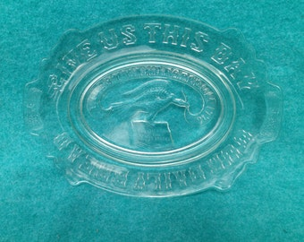 "AHRC Pressed Glass Bread Tray or Platter Constitution and Eagle ""Liberty and Freedom 1776"""