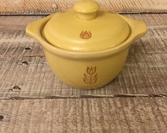 Vintage Kitchen, Vintage Yellow Tulip Casserole Dish with Lid USA Made Cronin Oven Bake Ware