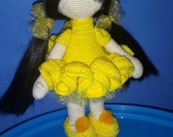 Doll, crochet amigurumi doll, yellow dress