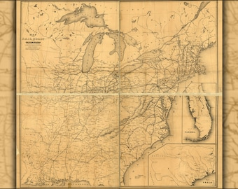 Poster, Many Sizes Available; Map Of Railroads In The United States Of America 1852