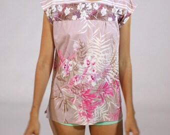 Vintage Pink and Mauve Botanical Floral Shirt