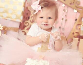 Pink Tutu, First Birthday Tutu, 1st Birthday Tutu, First Birthday Outfit Girl, 1st Birthday Outfit Tulle Skirt, SEWN Tutu Cake Smash Outfit