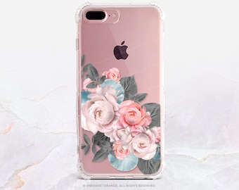 iPhone 8 Case iPhone X Case iPhone 7 Case Peonies Clear GRIP Rubber Case iPhone 7 Plus Clear Case iPhone SE Case Samsung S8 Plus Case U134
