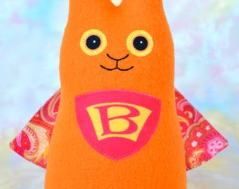 Superhero Bunny Rabbit Handmade Stuffed Animal, Orange, Red Fleece, Plush Kids Baby Toddler Art Toy, Hug Me Bunny, Personalized Tag, 9 inch