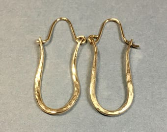 Gold Hoop Earrings 14kt Gold Filled, Handmade Hammered Hoops 1 & 3/8 Inches Long .5 Inches Wide, Long 14k Gold Hoop Earrings