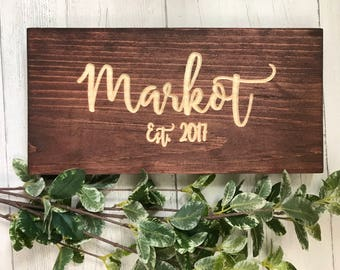 Custom Last Name Sign | 6x12 | Wood Sign | Family Sign | Wedding Gift | Wall Decor | Couples Gift | Anniversary Gift | Wedding Date |