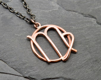 Virgo zodiac necklace copper