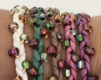 DIY Silk Wrap Bracelet or Silk Cord Kit DIY Jewelry Kit You Make Five Adult Friendship Bracelets in Vintage Rose Palette