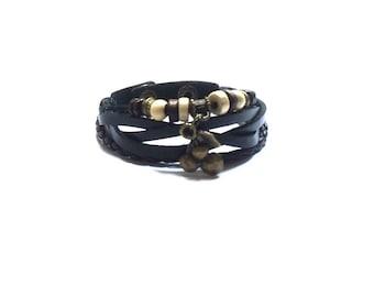 Black Leather Cuff , Beaded Leather Cuff  Bracelet  ,  Adjustable Leather Bracelet