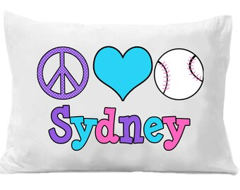 Softball Pillow Case , Peace Love Softball, Softball Gift,   Personalized Pillow Case