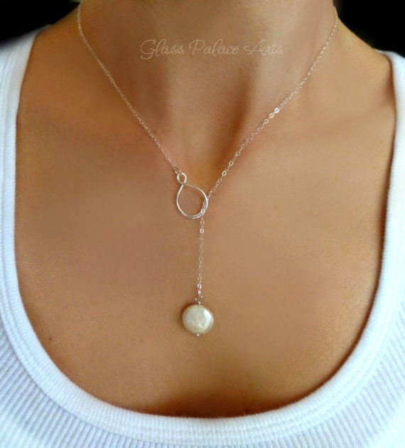 Pearl Lariat Necklace Freshwater Pearl Necklace Pearl Y