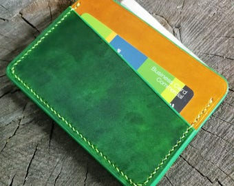 Minimalist Leather Wallet-Green Cardholder-Card Case -Thin Wallet-Small Wallet- Gift for Her-Constructed by Hand-Handmade Credit Card Holder