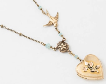 Heart Locket, Locket Necklace in Yellow & Rose Gold Filled with Blue Cyrstal and Bird Charm, Flower Motif, Wedding Gift, Vintage Jewelry