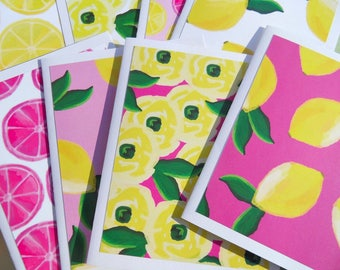 Lemon Note Cards, Blank Note Cards, Citrus Note cards, Lemon Note Cards, Floral note cards, Fuchsia Pink Yellow Green Note Cards, lfnc1