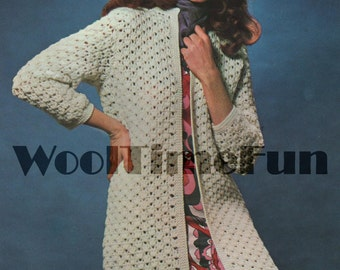 Crochet Pattern to make  Lady's Coat/Cardigan/Long Jacket. Double Knit Wool.c 34 to 38 Inch Bust.