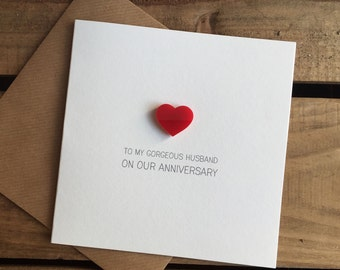 To My Gorgeous Husband On Our Anniversary Card with Magnetic Love Heart Keepsake