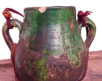 Vintage «Tamgroute» vert Pot en céramique