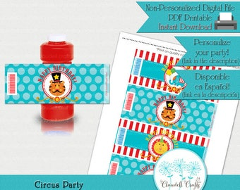 Circus Party Inspired Printable Bubble Bottle Wrapper