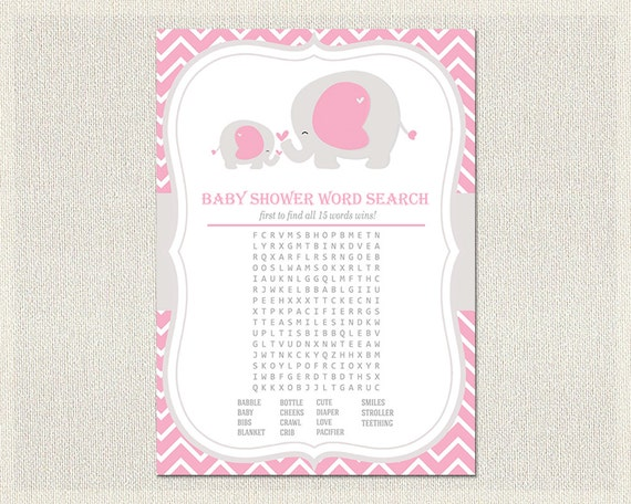 Items Similar To Baby Shower Word Search Girls Pink Gray