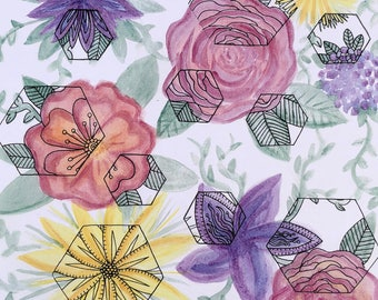 Detailed Blooms Watercolor and Ink Painting
