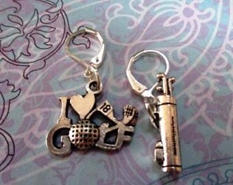 Golf Mismatched Silver Earrings - one pair