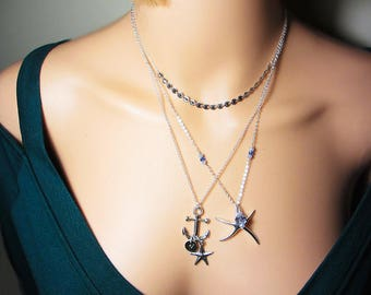 925 Sterling Silver Anchor Necklace Layering Necklace Initial Ocean Necklace Sea Pendant Beach Necklace Starfish Necklace Personalized Gift
