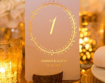 Personalised Wedding Table Numbers/Wedding Table Decor/Centerpiece Wreath Design in Gold/Silver/Rose Gold/Champagne Gold/Copper/Colour Foils