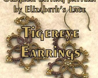 Elizabeth's Lace Original Tatting Pattern - Tigereye Earrings